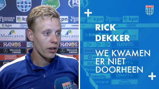 Rick Dekker: 'We kwamen er niet doorheen.'