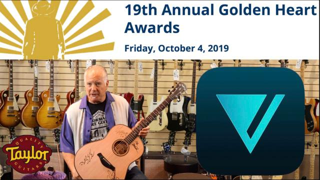 Norm Harris shows us the beautiful Taylor 517 acoustic donated by Vero,  to be auctioned at the Midnight Mission's Golden Heart Awards on October 4th.