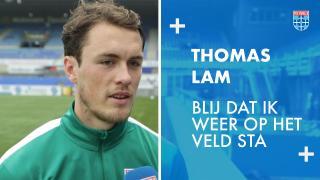 Thomas Lam: 'Blij dat ik weer op het veld sta.'