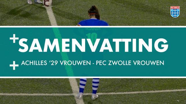 Samenvatting Achilles '29 Vrouwen - PEC Zwolle Vrouwen