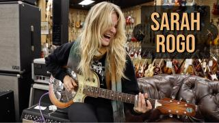 Sarah Rogo playing a National Reso-Electric at Norman's Rare Guitars