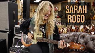 Sarah Rogo playing a National Reso-Electric at Norman's Rare Guitars