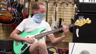 Shaun LaBelle playing a Fender Jazz Bass Made in Japan in Sea Foam Green